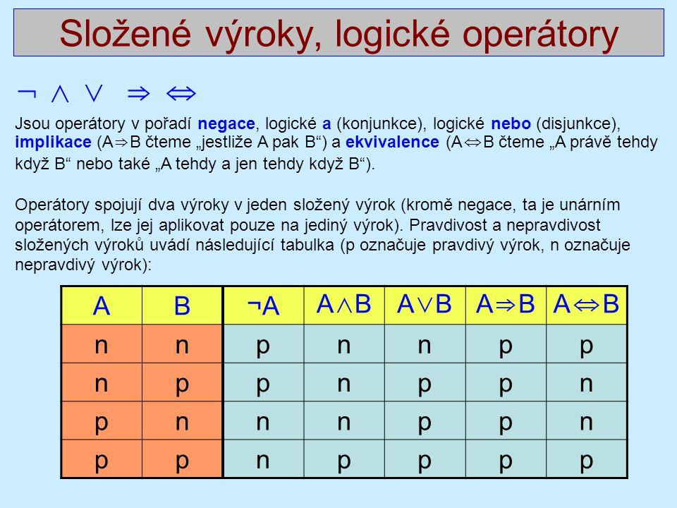 """Složené výroky, logické operátory ¬ ∧ ∨ ⇒ ⇔ Jsou operátory v pořadí negace, logické a (konjunkce), logické nebo (disjunkce), implikace (A ⇒ B čteme """"j"""
