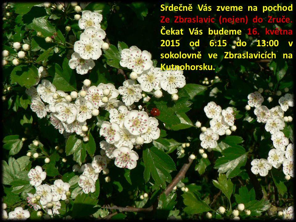 Srdečně Vás zveme na pochod Ze Zbraslavic (nejen) do Zruče. Čekat Vás budeme 16. května 2015 od 6:15 do 13:00 v sokolovně ve Zbraslavicích na Kutnohor