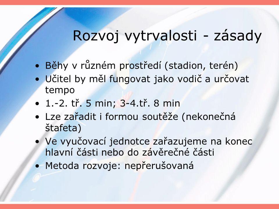 Rozvoj vytrvalosti - zásady Běhy v různém prostředí (stadion, terén) Učitel by měl fungovat jako vodič a určovat tempo 1.-2. tř. 5 min; 3-4.tř. 8 min