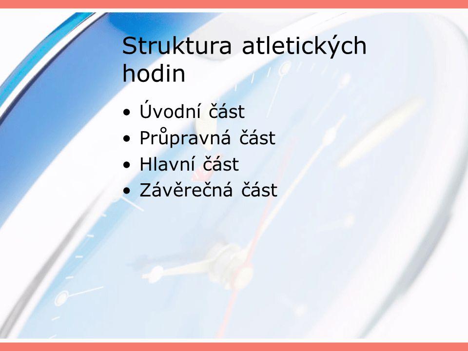 Struktura atletických hodin Úvodní část Průpravná část Hlavní část Závěrečná část
