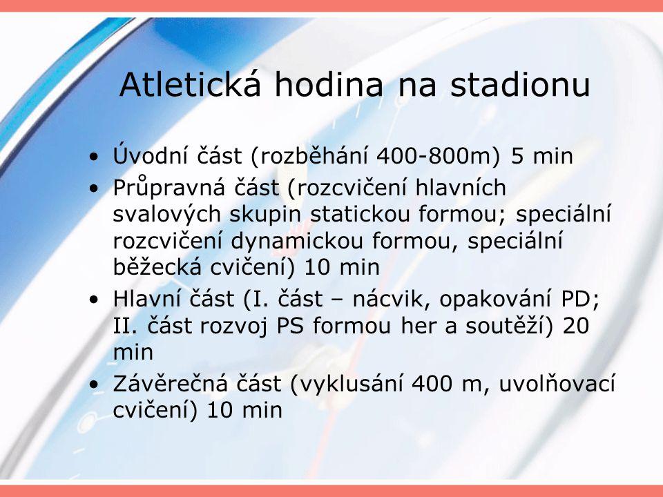 Atletická hodina na stadionu Úvodní část (rozběhání 400-800m) 5 min Průpravná část (rozcvičení hlavních svalových skupin statickou formou; speciální rozcvičení dynamickou formou, speciální běžecká cvičení) 10 min Hlavní část (I.