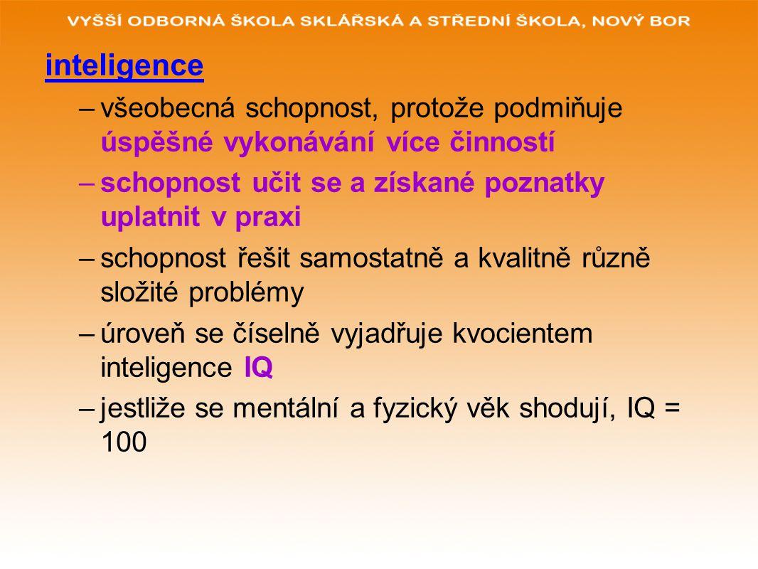 fluidní inteligence – biologická, vrozená, není závislá na prostředí krystalická inteligence – kulturní založení, na učení verbální inteligence – vyjadřování pomocí slov intelekt – je širší pojem, zahrnuje i vědomosti a dovednosti