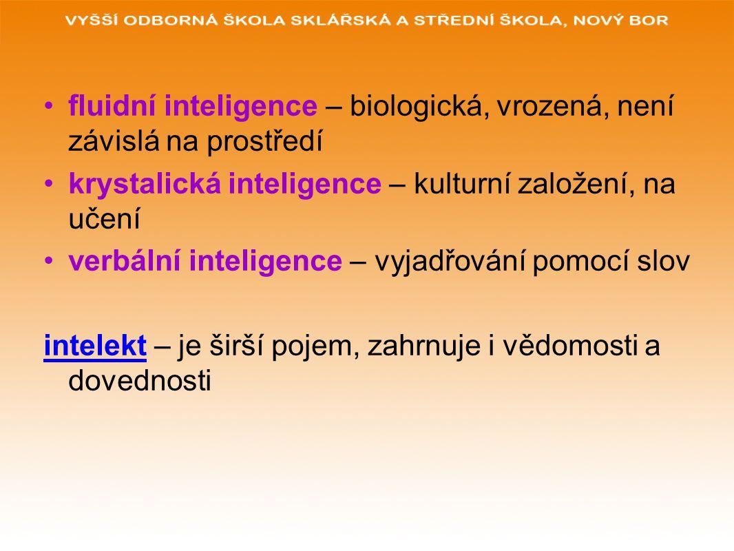 fluidní inteligence – biologická, vrozená, není závislá na prostředí krystalická inteligence – kulturní založení, na učení verbální inteligence – vyja