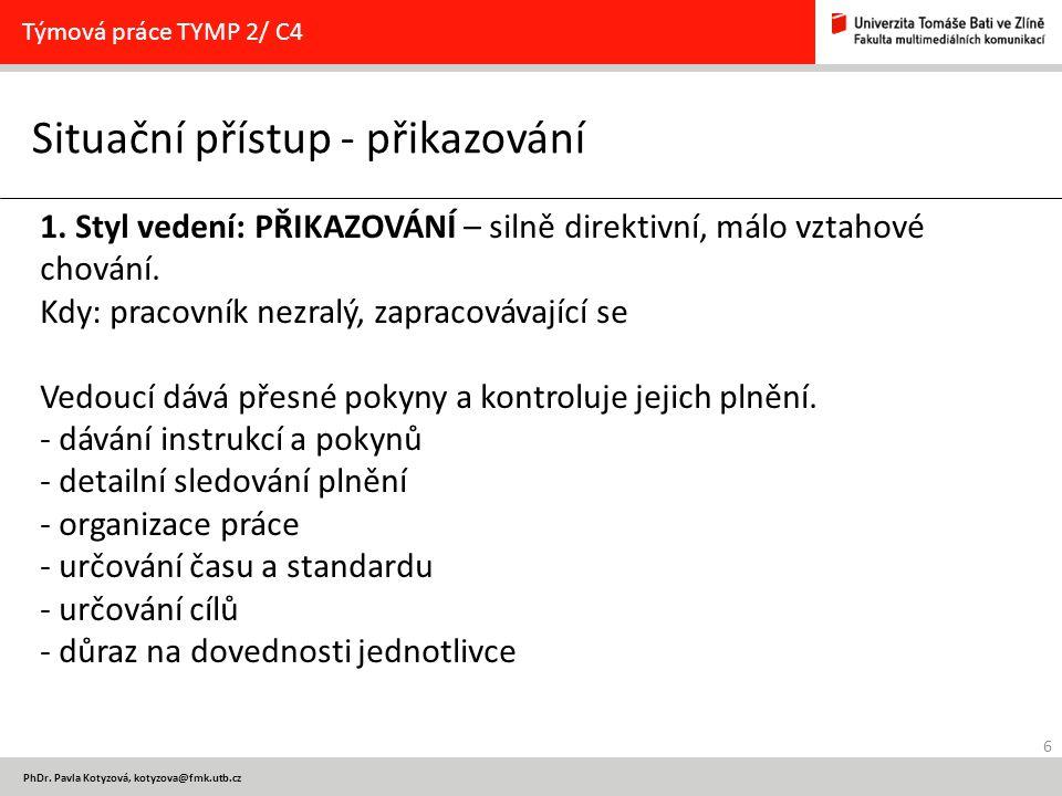 6 PhDr. Pavla Kotyzová, kotyzova@fmk.utb.cz Situační přístup - přikazování Týmová práce TYMP 2/ C4 1. Styl vedení: PŘIKAZOVÁNÍ – silně direktivní, mál