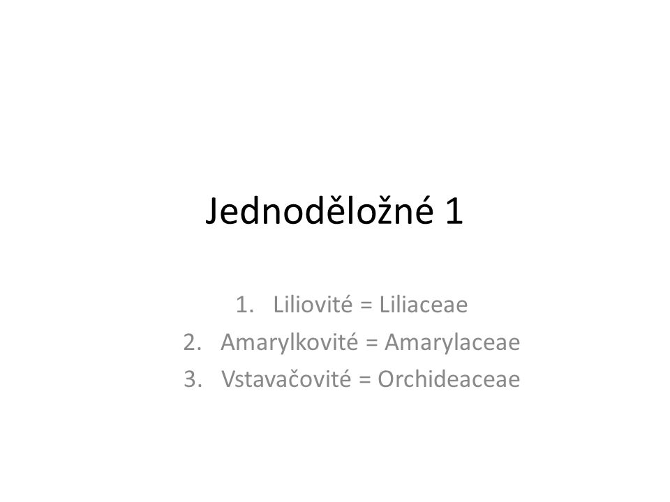 Jednoděložné 1 1.Liliovité = Liliaceae 2.Amarylkovité = Amarylaceae 3.Vstavačovité = Orchideaceae