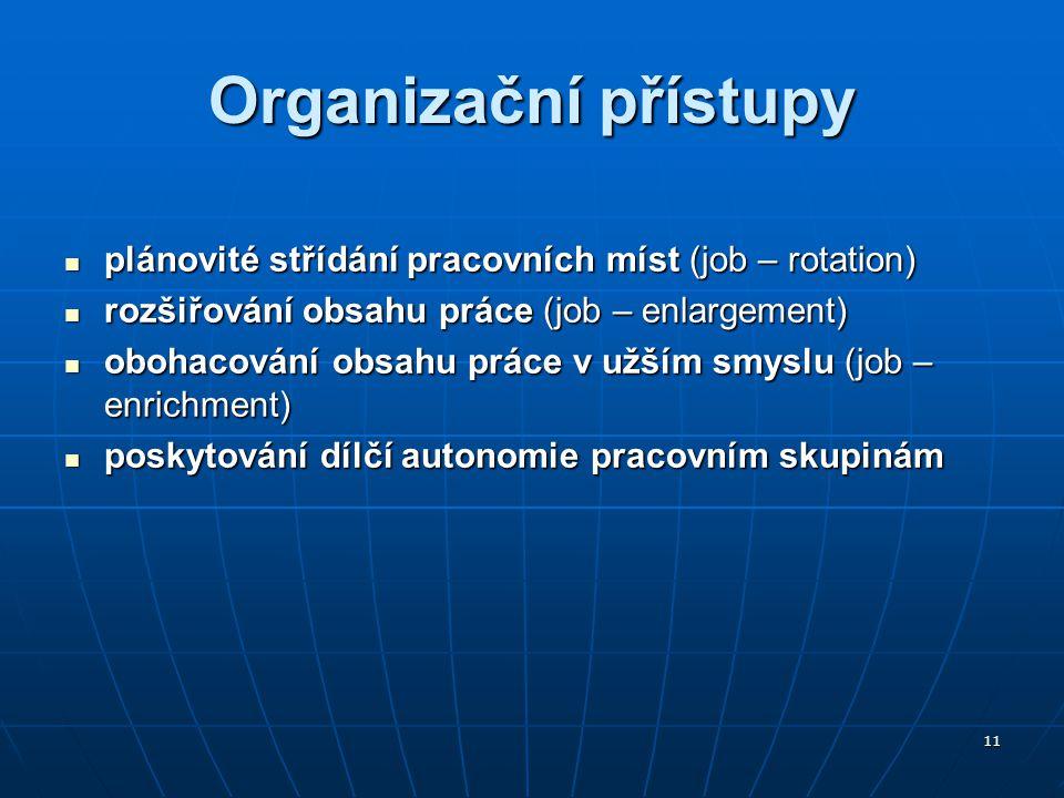 11 Organizační přístupy plánovité střídání pracovních míst (job – rotation) plánovité střídání pracovních míst (job – rotation) rozšiřování obsahu prá