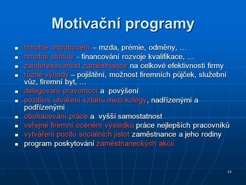 13 Motivační programy hmotné ohodnocení – mzda, prémie, odměny, … hmotné ohodnocení – mzda, prémie, odměny, … hmotné stimuly - financování rozvoje kva