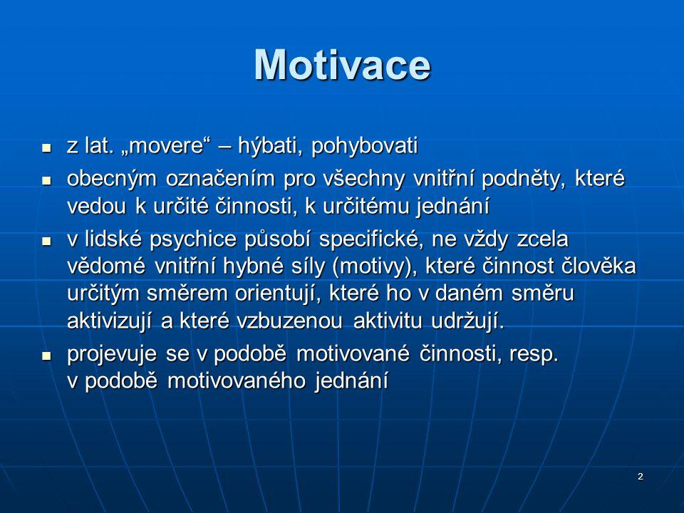 3 Motivace působí současně ve třech dimenzích: dimenze směru dimenze směru dimenze intenzity dimenze intenzity dimenze stálosti, vytrvalosti, perzistence dimenze stálosti, vytrvalosti, perzistence