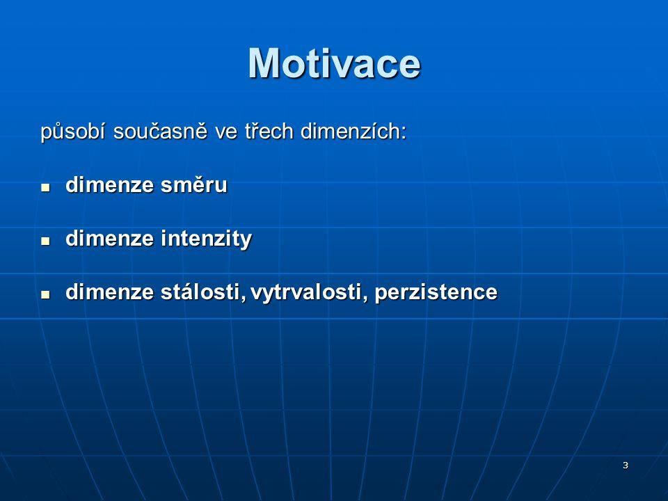 3 Motivace působí současně ve třech dimenzích: dimenze směru dimenze směru dimenze intenzity dimenze intenzity dimenze stálosti, vytrvalosti, perziste