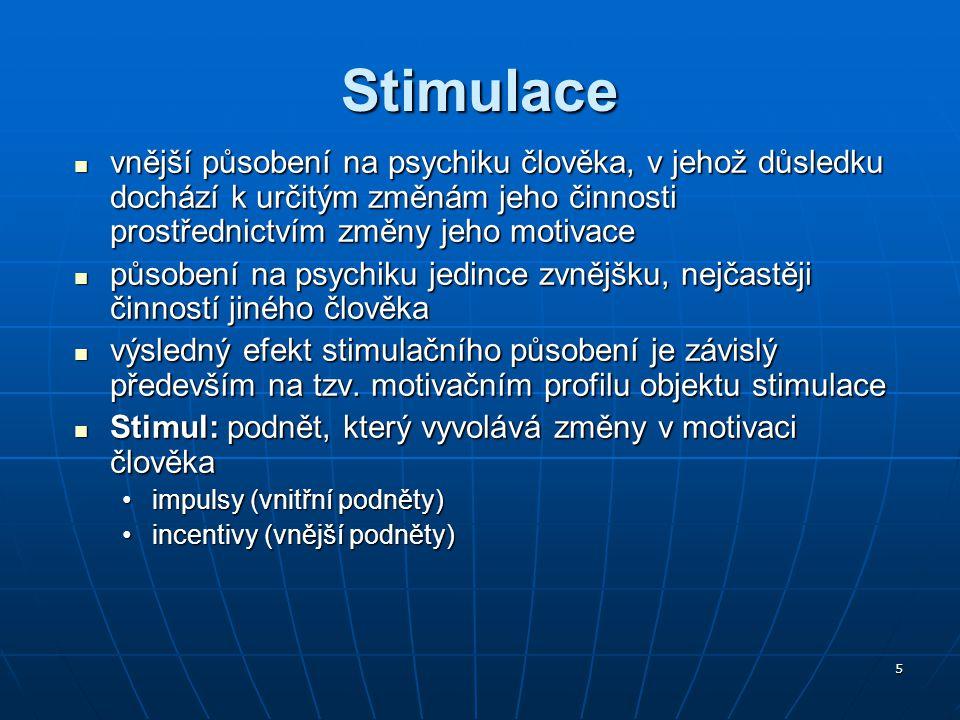 5 Stimulace vnější působení na psychiku člověka, v jehož důsledku dochází k určitým změnám jeho činnosti prostřednictvím změny jeho motivace vnější pů