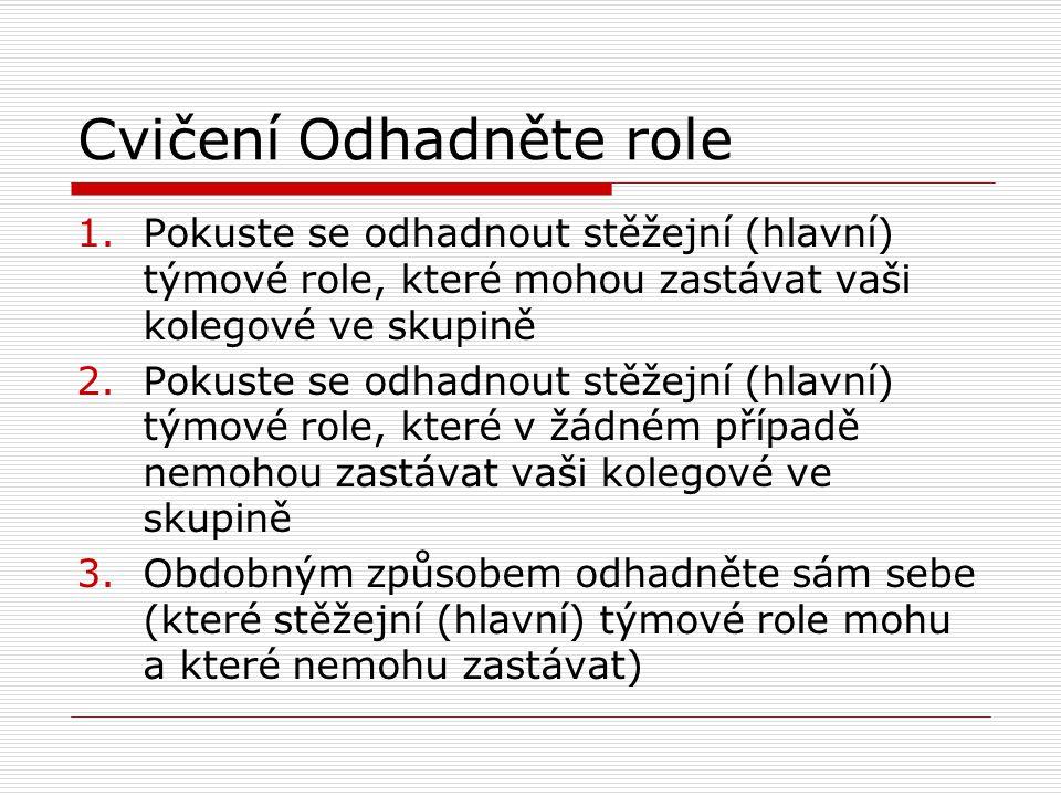 Cvičení Odhadněte role 1.Pokuste se odhadnout stěžejní (hlavní) týmové role, které mohou zastávat vaši kolegové ve skupině 2.Pokuste se odhadnout stěž