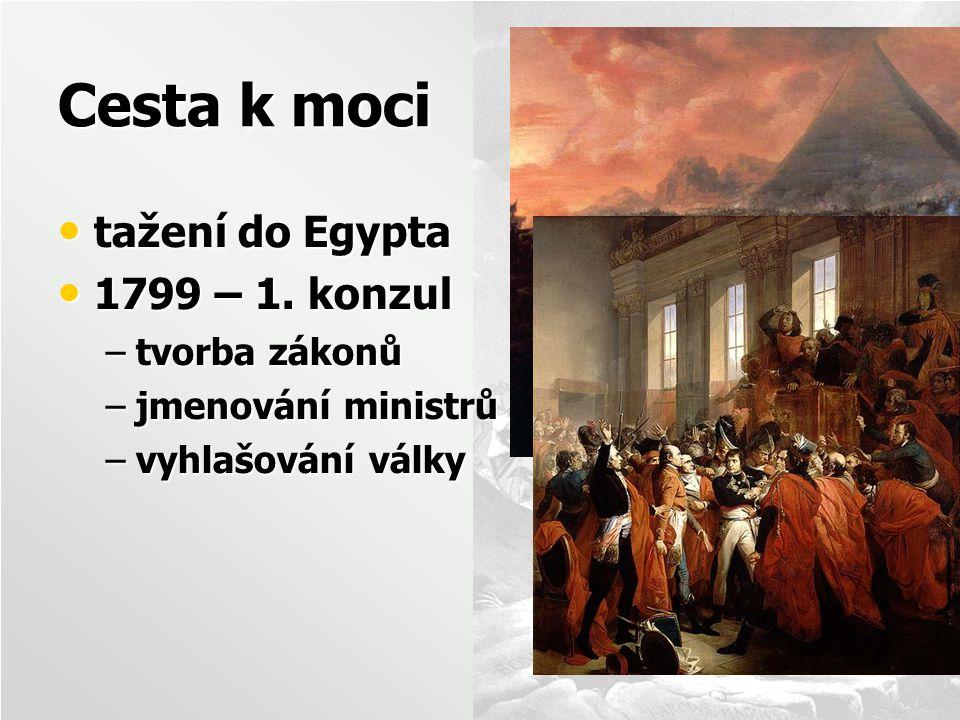 Cesta k moci tažení do Egypta tažení do Egypta 1799 – 1. konzul 1799 – 1. konzul –tvorba zákonů –jmenování ministrů –vyhlašování války