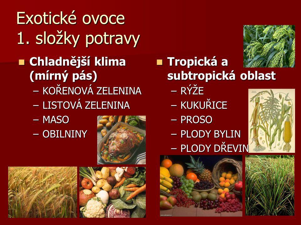 Exotické ovoce 1. složky potravy Chladnější klima (mírný pás) Chladnější klima (mírný pás) –KOŘENOVÁ ZELENINA –LISTOVÁ ZELENINA –MASO –OBILNINY Tropic