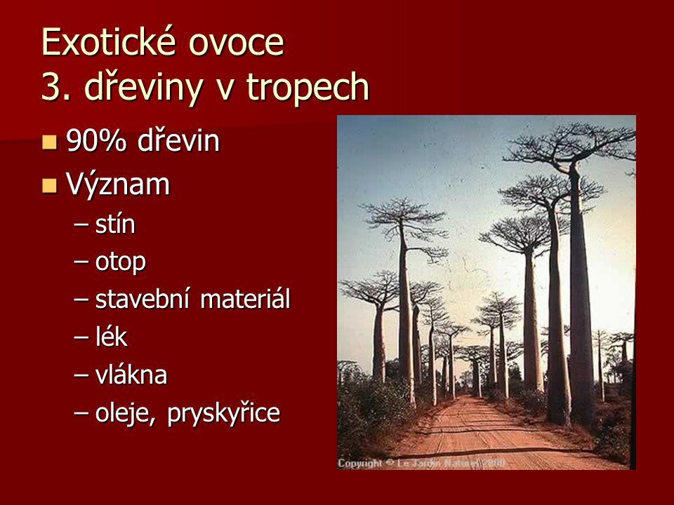 Exotické ovoce 3. dřeviny v tropech 90% dřevin 90% dřevin Význam Význam –stín –otop –stavební materiál –lék –vlákna –oleje, pryskyřice
