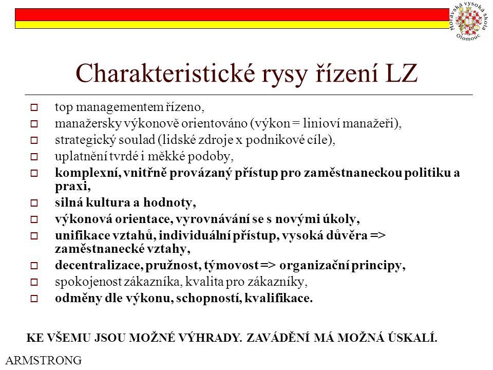 Charakteristické rysy řízení LZ  top managementem řízeno,  manažersky výkonově orientováno (výkon = linioví manažeři),  strategický soulad (lidské