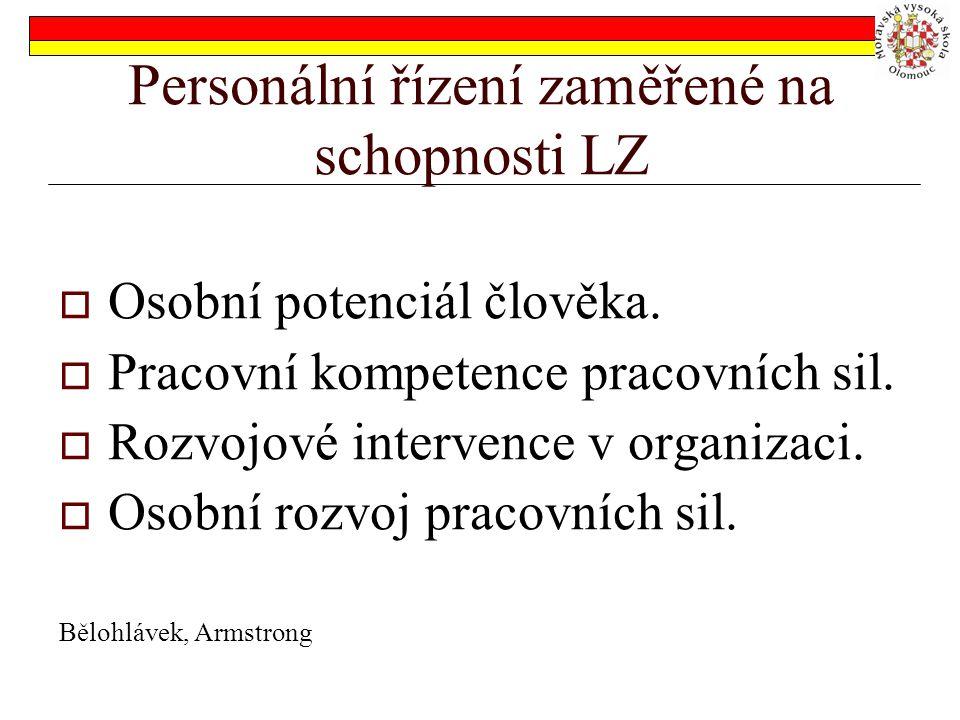 Personální řízení zaměřené na schopnosti LZ  Osobní potenciál člověka.  Pracovní kompetence pracovních sil.  Rozvojové intervence v organizaci.  O