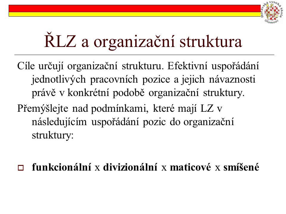 ŘLZ a organizační struktura Cíle určují organizační strukturu. Efektivní uspořádání jednotlivých pracovních pozice a jejich návaznosti právě v konkrét
