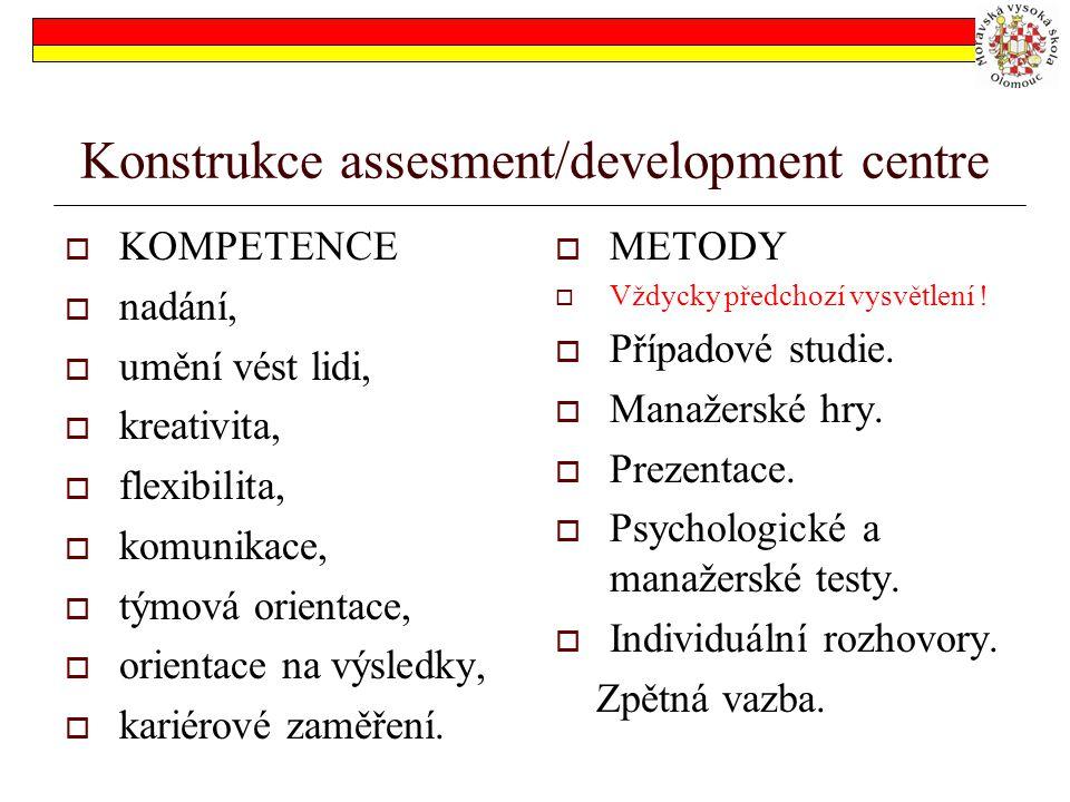 Konstrukce assesment/development centre  KOMPETENCE  nadání,  umění vést lidi,  kreativita,  flexibilita,  komunikace,  týmová orientace,  ori