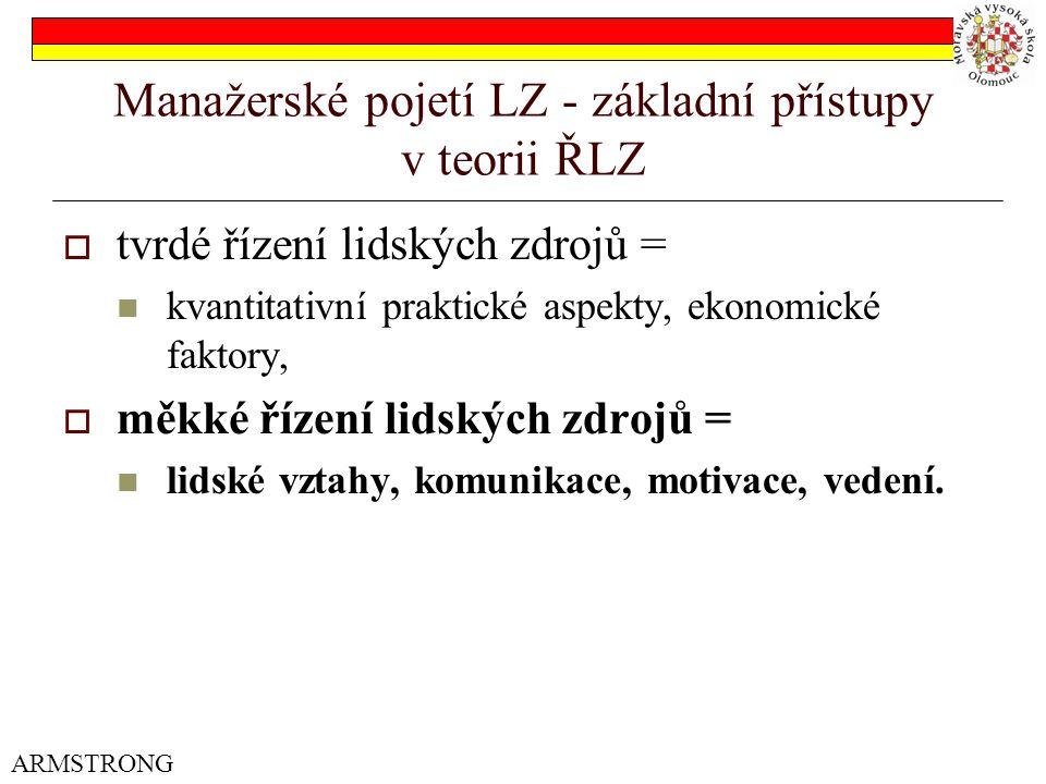 Manažerské pojetí LZ - základní přístupy v teorii ŘLZ  tvrdé řízení lidských zdrojů = kvantitativní praktické aspekty, ekonomické faktory,  měkké ří
