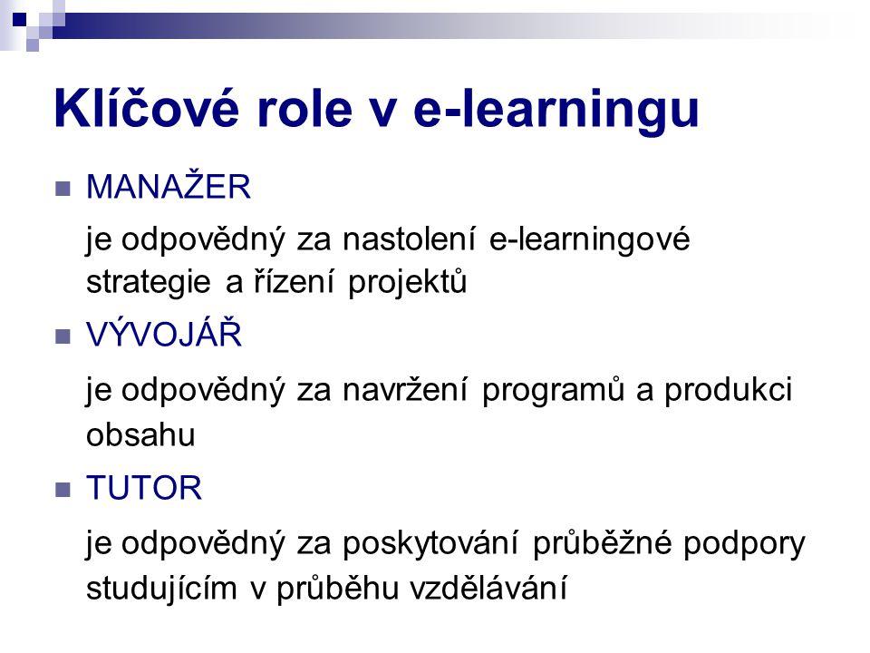 Klíčové role v e-learningu MANAŽER je odpovědný za nastolení e-learningové strategie a řízení projektů VÝVOJÁŘ je odpovědný za navržení programů a pro