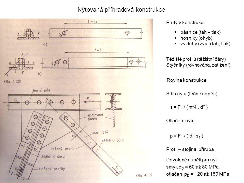 Nýtovaná příhradová konstrukce Pruty v konstrukci  pásnice (tah – tlak)  nosníky (ohyb)  výztuhy (výplň tah, tlak) Těžiště profilů (těžištní čáry)