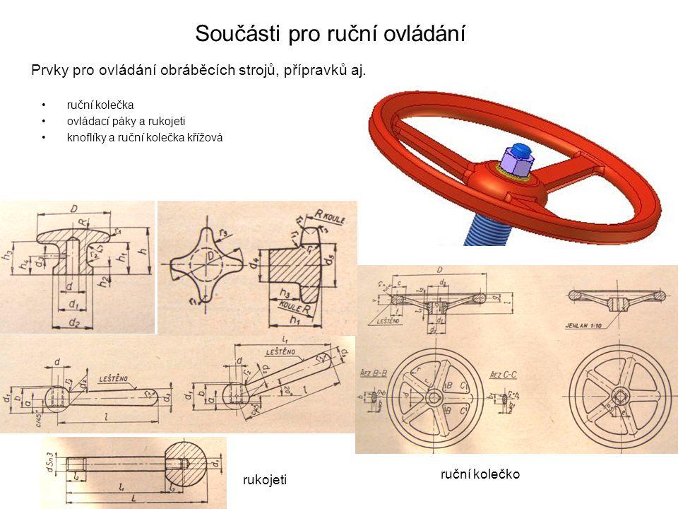 Součásti pro ruční ovládání ruční kolečka ovládací páky a rukojeti knoflíky a ruční kolečka křížová Prvky pro ovládání obráběcích strojů, přípravků aj