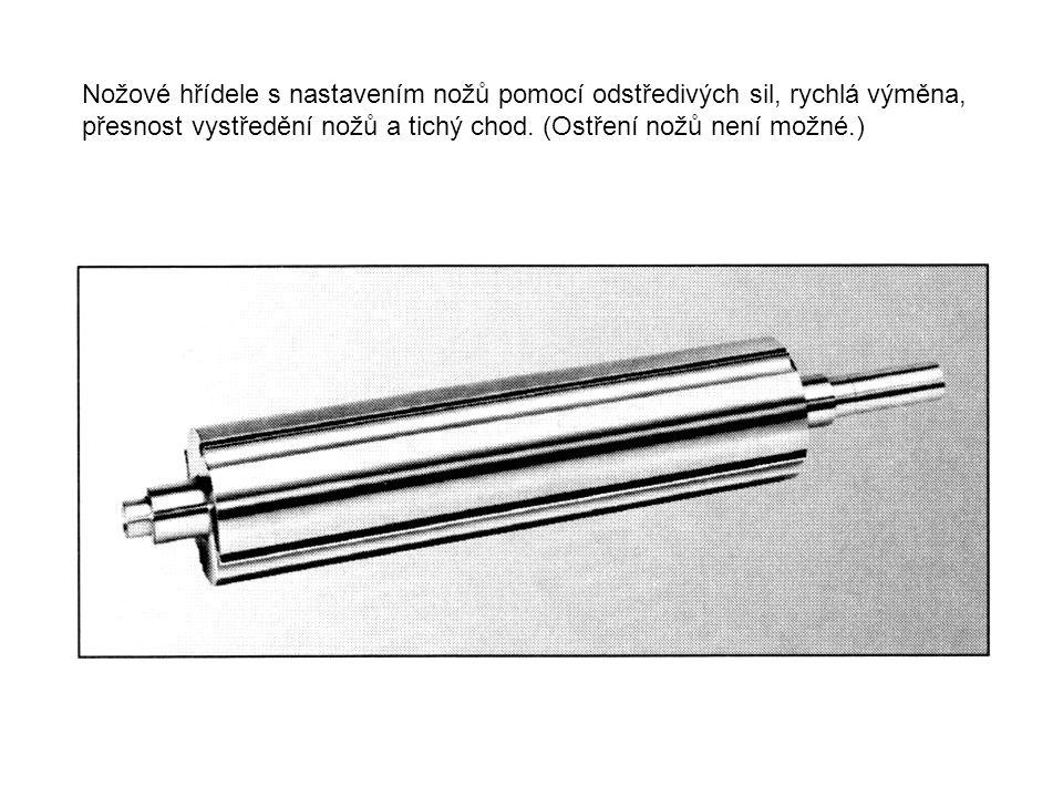Spirálové nožové hřídele, dva nože v přítlačném pouzdře spirálově na plášti hřídele.
