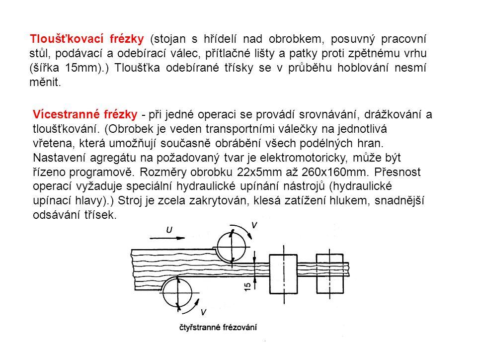 Tloušťkovací frézky (stojan s hřídelí nad obrobkem, posuvný pracovní stůl, podávací a odebírací válec, přítlačné lišty a patky proti zpětnému vrhu (šířka 15mm).) Tloušťka odebírané třísky se v průběhu hoblování nesmí měnit.