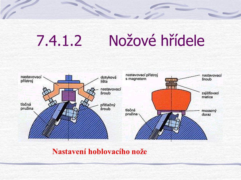 7.4.1.2Nožové hřídele Nasazení a nastavení nožů se provádí u kruhové nožové hřídele pomocí nastavovacího zařízení – viz obrázek na následující straně.
