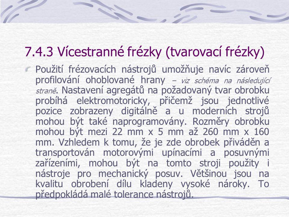 7.4.3 Vícestranné frézky (tvarovací frézky) S vícestrannými frézkami se provádí srovnávání, drážkování a tloušťkování při jedné pracovní operaci – viz