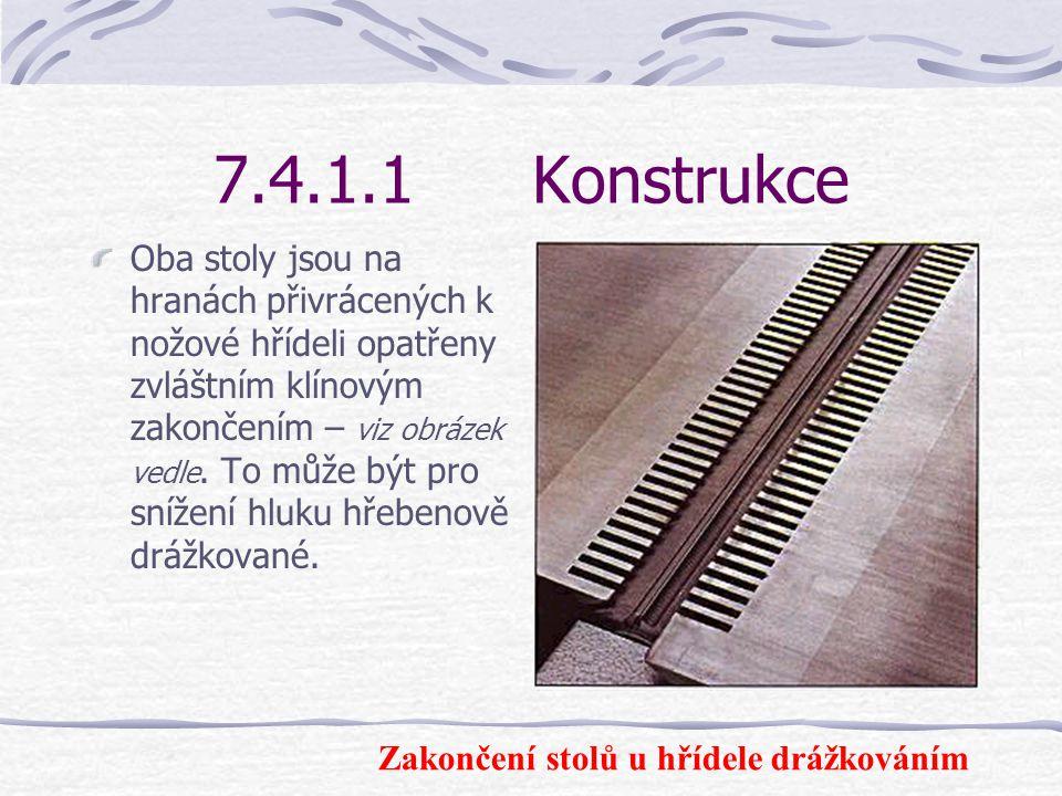 7.4.1.1Konstrukce Pracovní stoly slouží k položení obrobků při jejich vedení proti nožové hřídeli i při jejich odebírání po opracování. Oba pracovní s