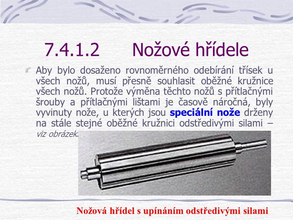 7.4.1.2Nožové hřídele Nožové hřídele se vyrábějí v různých konstrukcích. Základní tvar tvoří kruhová nožová hřídel, u které jsou na tělesu hřídele pří