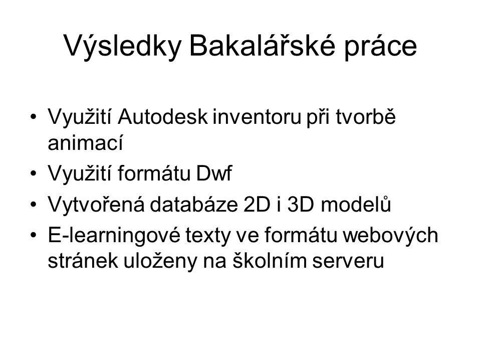 Výsledky Bakalářské práce Využití Autodesk inventoru při tvorbě animací Využití formátu Dwf Vytvořená databáze 2D i 3D modelů E-learningové texty ve f