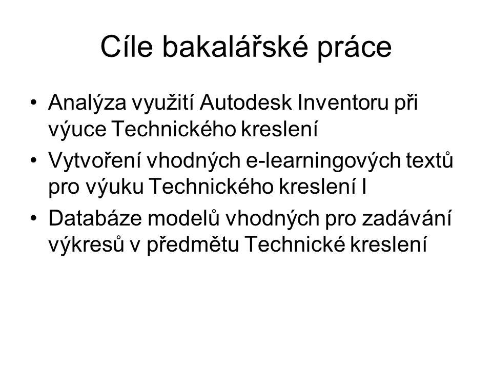 Cíle bakalářské práce Analýza využití Autodesk Inventoru při výuce Technického kreslení Vytvoření vhodných e-learningových textů pro výuku Technického