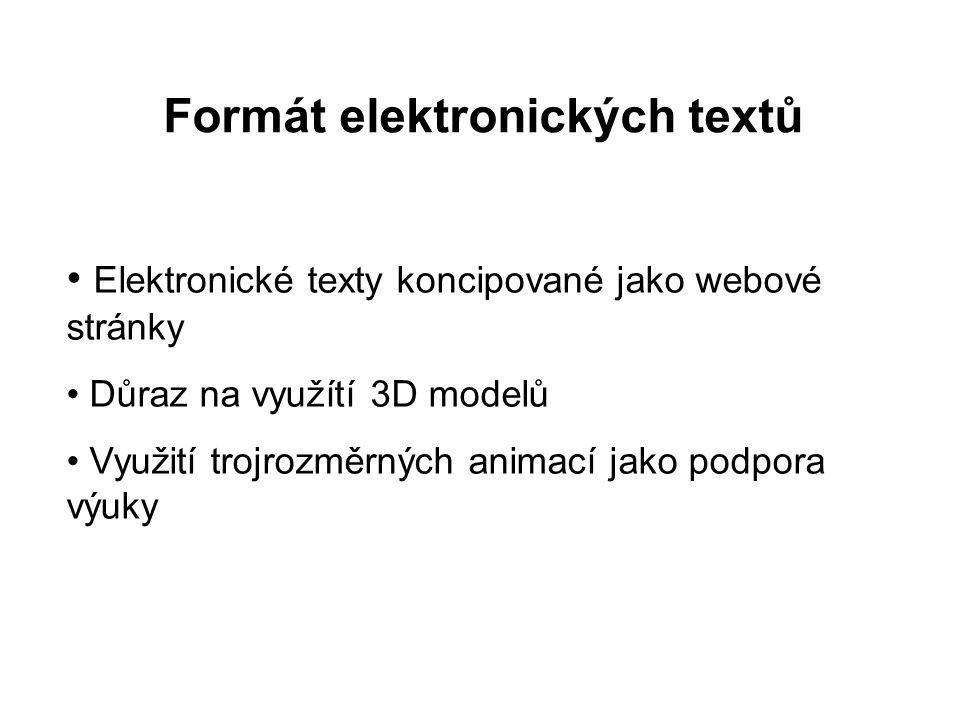 Elektronické texty koncipované jako webové stránky Důraz na využítí 3D modelů Využití trojrozměrných animací jako podpora výuky Formát elektronických