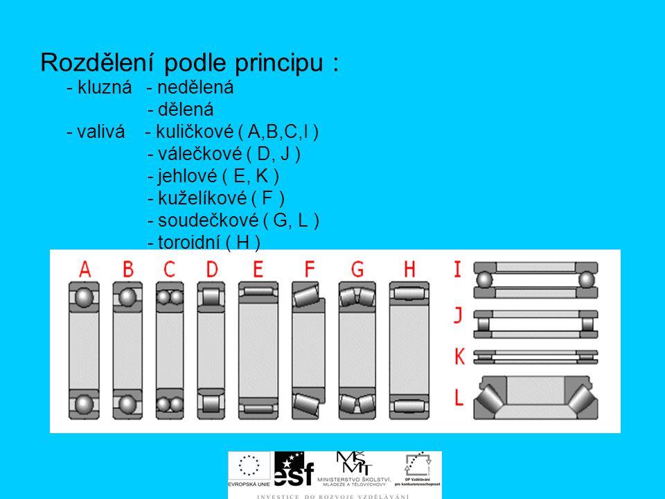 Rozdělení podle principu : - kluzná - nedělená - dělená - valivá - kuličkové ( A,B,C,I ) - válečkové ( D, J ) - jehlové ( E, K ) - kuželíkové ( F ) -
