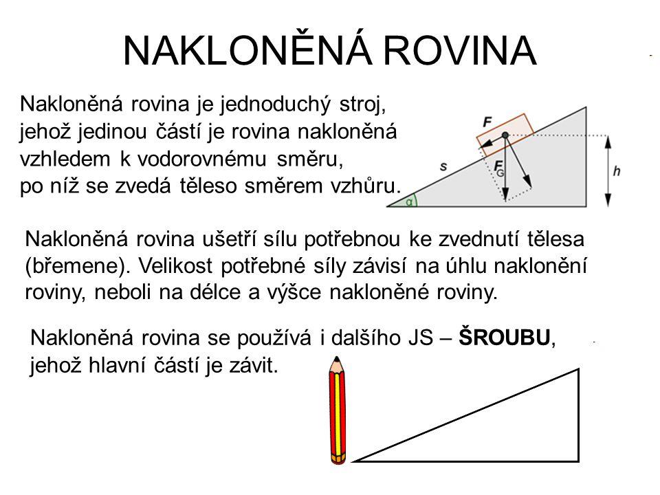 NAKLONĚNÁ ROVINA Nakloněná rovina je jednoduchý stroj, jehož jedinou částí je rovina nakloněná vzhledem k vodorovnému směru, po níž se zvedá těleso sm