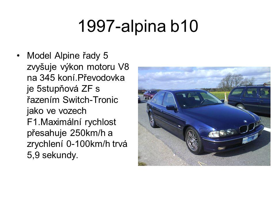 1997-alpina b10 Model Alpine řady 5 zvyšuje výkon motoru V8 na 345 koní.Převodovka je 5stupňová ZF s řazením Switch-Tronic jako ve vozech F1.Maximální rychlost přesahuje 250km/h a zrychlení 0-100km/h trvá 5,9 sekundy.