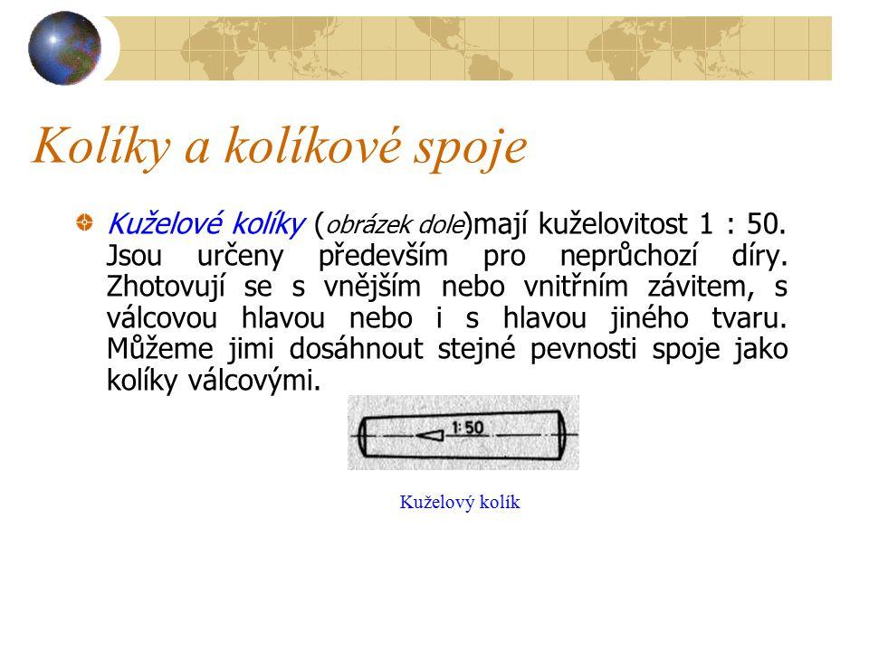 Kolíky a kolíkové spoje Kuželové kolíky ( obrázek dole )mají kuželovitost 1 : 50.