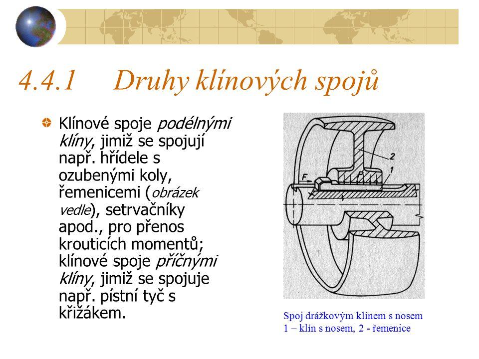 4.4Klíny, pera a jejich spoje Klínový spoj slouží k přenosu otáčivého pohybu z jedné součásti na druhou; obvykle se tak spojuje hřídel s nábojem. Dnes