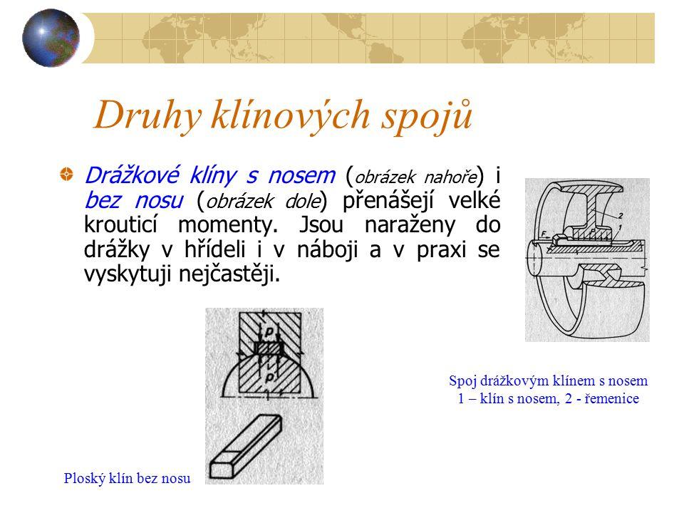 Druhy klínových spojů Drážkové klíny s nosem ( obrázek nahoře ) i bez nosu ( obrázek dole ) přenášejí velké krouticí momenty.