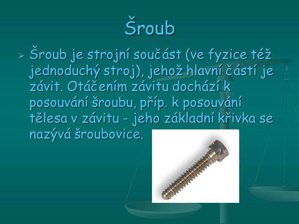 Šroub  Šroub je strojní součást (ve fyzice též jednoduchý stroj), jehož hlavní částí je závit.