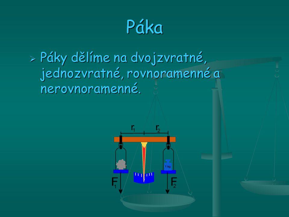  Páka je jednoduchý stroj, jehož částmi je osa, rameno, břemen a rameno síly.