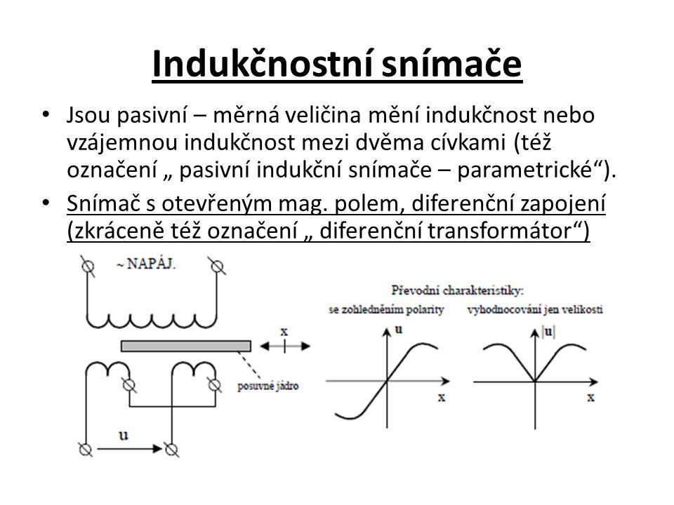 """Indukčnostní snímače Jsou pasivní – měrná veličina mění indukčnost nebo vzájemnou indukčnost mezi dvěma cívkami (též označení """" pasivní indukční sníma"""