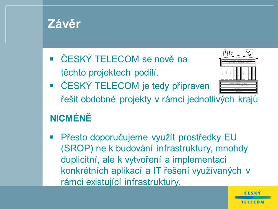 Závěr ČESKÝ TELECOM se nově na těchto projektech podílí. ČESKÝ TELECOM je tedy připraven řešit obdobné projekty v rámci jednotlivých krajů NICMÉNĚ Pře