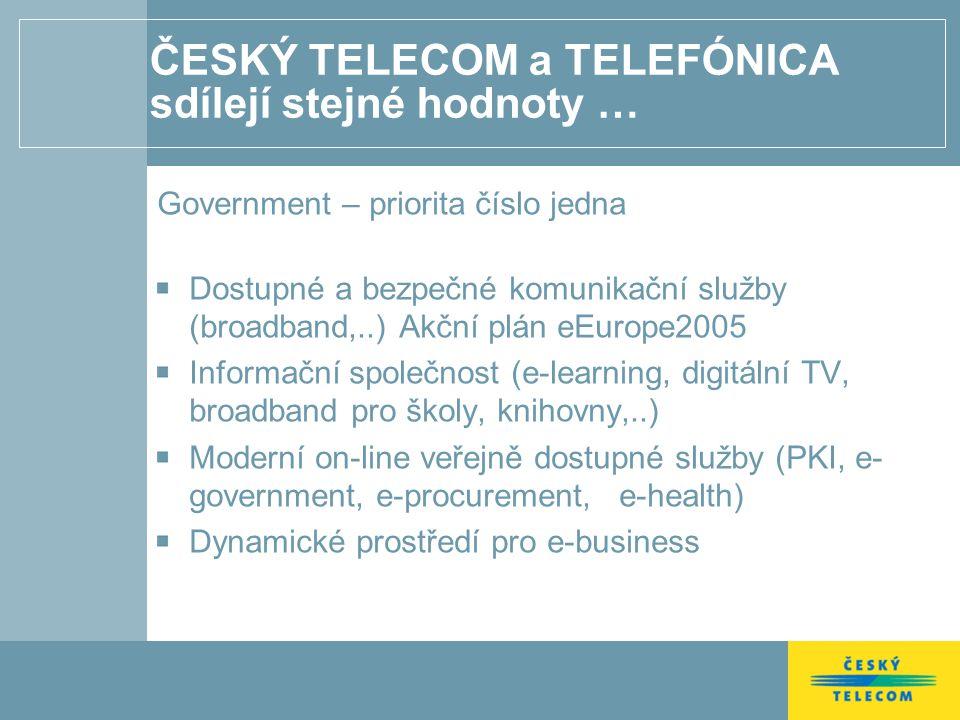ČESKÝ TELECOM a TELEFÓNICA sdílejí stejné hodnoty … Government – priorita číslo jedna Dostupné a bezpečné komunikační služby (broadband,..) Akční plán