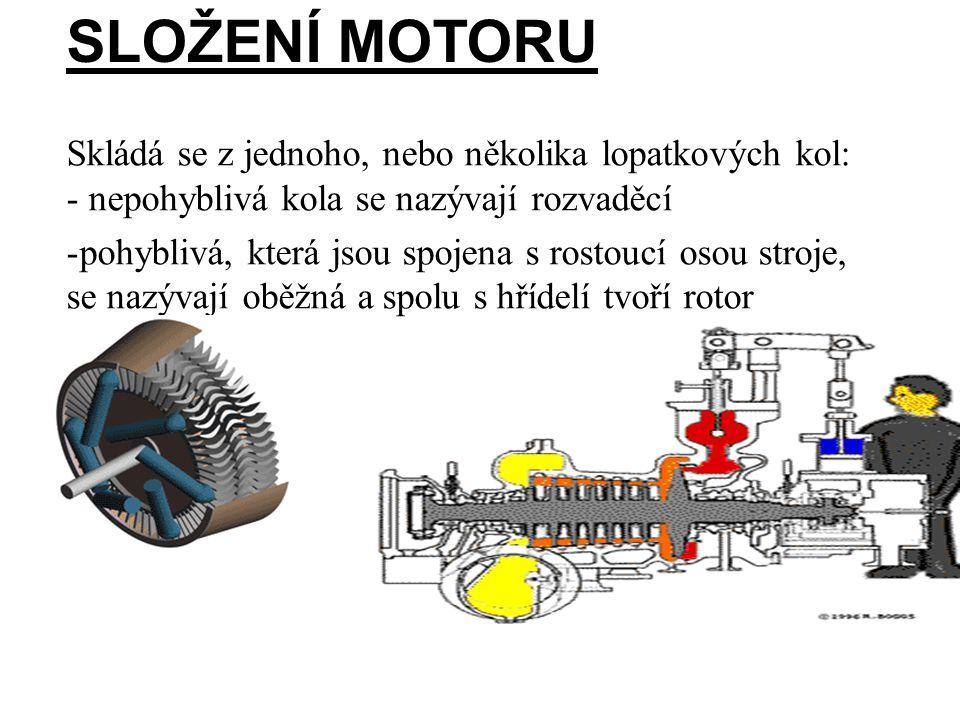 SLOŽENÍ MOTORU Skládá se z jednoho, nebo několika lopatkových kol: - nepohyblivá kola se nazývají rozvaděcí -pohyblivá, která jsou spojena s rostoucí