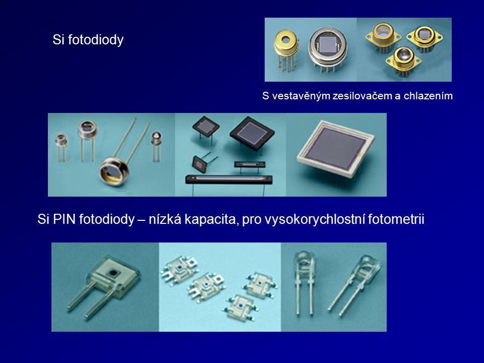 Si fotodiody Si PIN fotodiody – nízká kapacita, pro vysokorychlostní fotometrii S vestavěným zesilovačem a chlazením