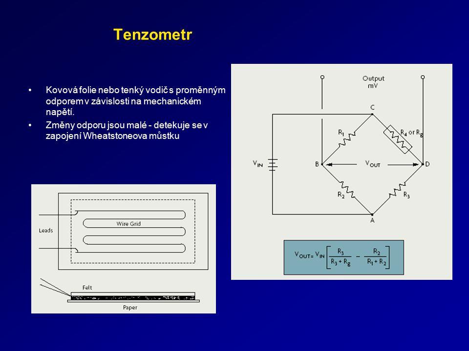 Tenzometr Kovová folie nebo tenký vodič s proměnným odporem v závislosti na mechanickém napětí. Změny odporu jsou malé - detekuje se v zapojení Wheats