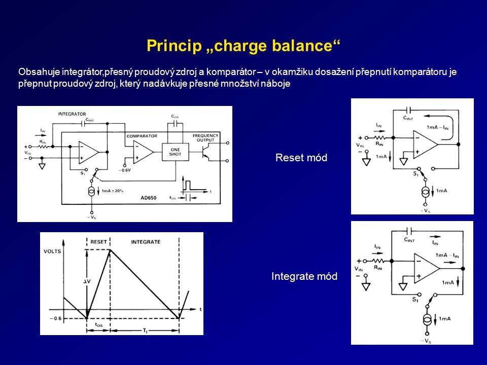 """Princip """"charge balance"""" Obsahuje integrátor,přesný proudový zdroj a komparátor – v okamžiku dosažení přepnutí komparátoru je přepnut proudový zdroj,"""